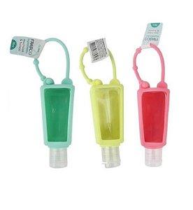 Kit Com 2 Frasco Álcool Gel Sabonete Líquido Creme Chaveiro Silicone Colorido Clink 30ml