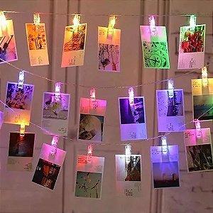 Cordão De Luz Colorido Led Pilha Varal 10 Prendedor De Fotos