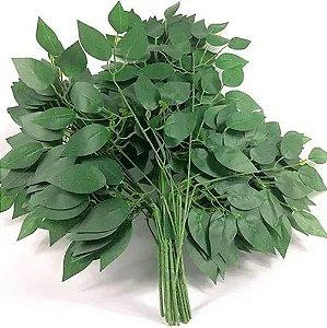 Kit 4 Folhas Planta Artificial Folhagem Verde Ficus 60 Cm