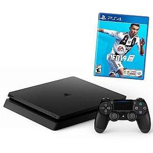 Sony  PlayStation 4 Slim de 1TB Sony CUH-2215B Bivolt + Jogo FIFA 19 - Jet Black