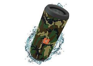 JBL Flip 4 16W com Bluetooth/Auxiliar Bateria 3000 mAh - Verde Camuflado