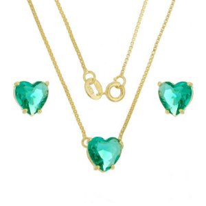 Conjunto Coração Pedra Verde Turmalina