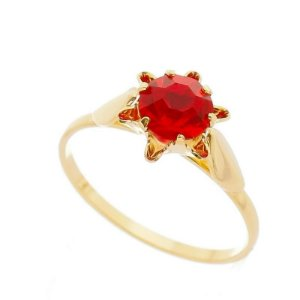 Anel Semi Joia Flor Pedra Vermelha Strass - Nº20