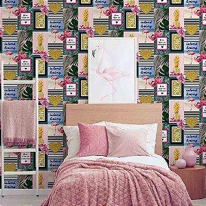 Papel de Parede Infantil Importado Flamingo, Coração, Abacaxi e Costela de Adão Kids n'Teens 2 106843
