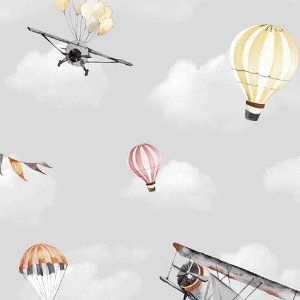Papel de Parede Infantil Balões no Céu Nuvens Hello Kids HK223501R
