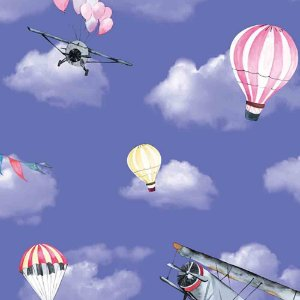 Papel de Parede Infantil Balões no Céu Nuvens Hello Kids HK223502R
