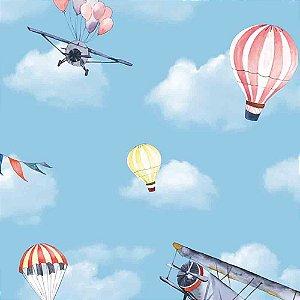 Papel de Parede Infantil Balões no Céu Nuvens Hello Kids HK223503R