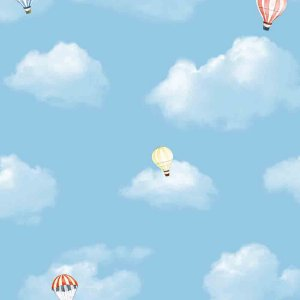 Papel de Parede Infantil Balões no Céu Nuvens Hello Kids HK223601R