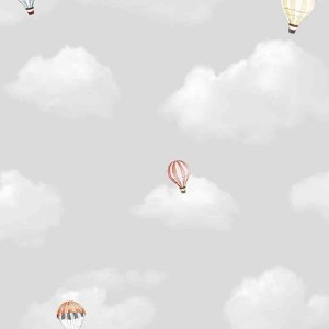 Papel de Parede Infantil Balões no Céu Nuvens Hello Kids HK223603R