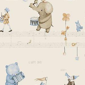 Papel de Parede Infantil Animais tocando Música Hello Kids HK224303R