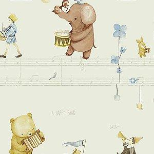 Papel de Parede Infantil Animais tocando Música Hello Kids HK224304R