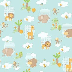 Papel de Parede Infantil Bambinos Animais Safari Azul 3300