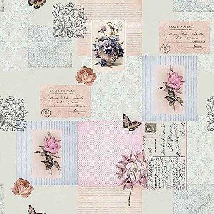 Papel de Parede Bambinos Vintage Cartas Patchwork 3345
