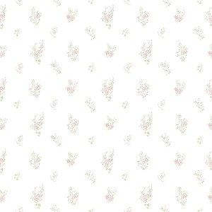 Papel de Parede Infantil Bambinos Floral Branco e Rosa 3350