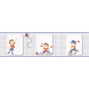 Faixa de Parede Bambinos Xadrez Azul e Vermelho 3204
