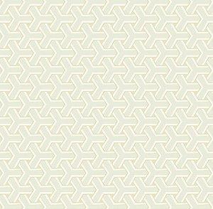Papel de Parede Diplomata Geométrico Boomerang Branco, Bege Claro e Gelo 3108