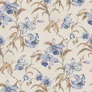 Papel de Parede Harmonia Floral Azul e Marrom 9114