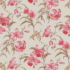Papel de Parede Harmonia Floral Rosa e Marrom 9115