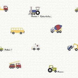 Papel de Parede Infantil Infantário Transportes fundo Branco 1704