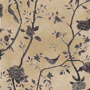 Papel de Parede Natural Floral Bege com Pássaros 1443