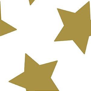 Papel de Parede Infantil Renascer Estrela grande Dourada 6213