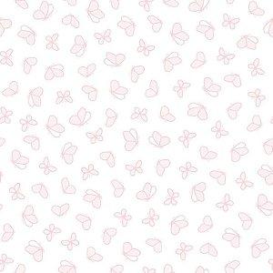Papel de Parede Infantil Renascer Borboletas Revoada Rosa 6217