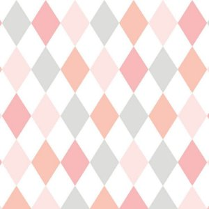 Papel de Parede Infantil Renascer Geométricos Losango Rosa e Cinza 6243