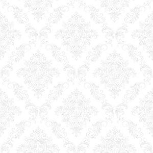 Papel de Parede Infantil Renascer Arabesco Damask Branco 6247