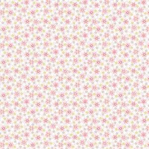 Papel de Parede Infantil Renascer Floral Florzinha Rosa com Bege 6253