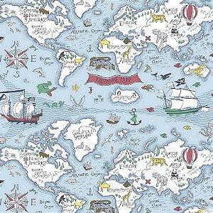 Papel de Parede Infantil Baby Charmed Mapa BB220305