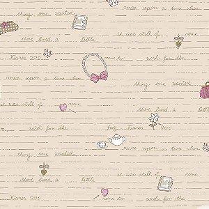 Papel de Parede Infantil Baby Charmed Temas Diversos Laços, Palavras, Letras, Coração, Chá e Flores BB221302
