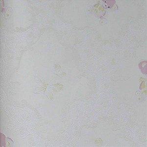 Papel de Parede Grace Arabesco com Ursinhos e Borboletas GR921901
