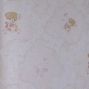 Papel de Parede Grace Arabesco com Ursinhos e Borboletas GR921903