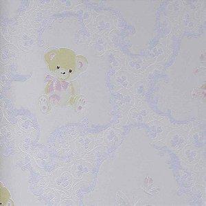 Papel de Parede Grace Arabesco com Ursinhos e Borboletas GR921905