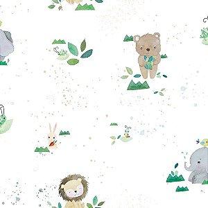 Papel de Parede Infantil Brincar Animais Coelhos, Elefantes, Leões e Ursos 3618