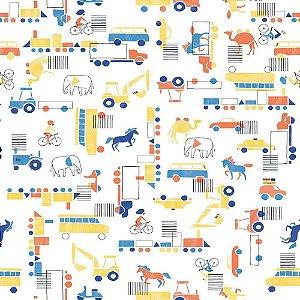 Papel de Parede Infantil Brincar Carros, Caminhões, Ônibus e Trens 3633