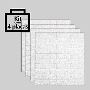 Kit com 4 unidades - Painel 3D Autoadesivo Tijolinho Branco