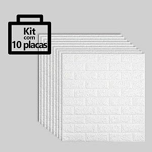 Kit com 10 unidades - Painel 3D Autoadesivo Tijolinho Branco