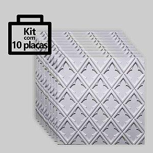 Kit com 10 unidades - Painel 3D Autoadesivo Venetto Branco