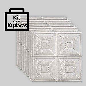 Kit com 10 unidades - Painel 3D Autoadesivo Clássico Quadrados