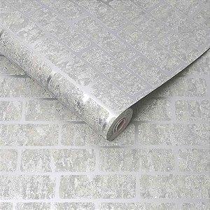 Papel de Parede Lancaster Tijolinho Metalizado Prata com Relevo 106523