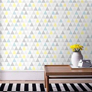 Papel de Parede Infantil Kids n'Teens Geométricos Triângulos Azul Amarelo Cinza 32829