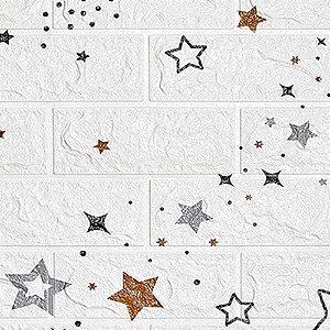 Painel 3D Autoadesivo Tijolinho Branco Estrelas