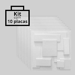 Kit com 10 unidades - Painel 3D Autoadesivo Cidades Branco