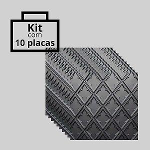 Kit com 10 unidades - Painel 3D Autoadesivo Venetto Preto
