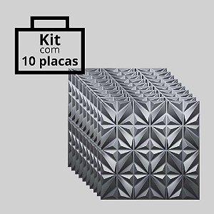 Kit com 10 unidades - Painel 3D Autoadesivo África Preto