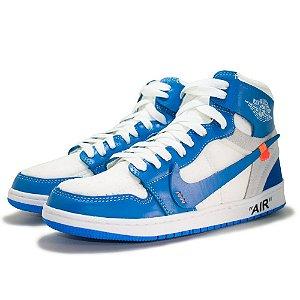 Tênis Nike Air Jordan 1 Off White Masculino - Azul e Branco