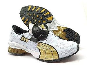 Tênis Puma Disc Masculino - Branco e Dourado