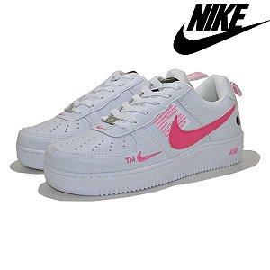 Tênis Feminino Nike Air Force 1 Lançamento - Branco e Rosa