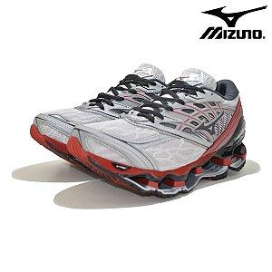 Tênis Mizuno Wave Prophecy 8 Masculino - Pro8 Cinza e Vermelho